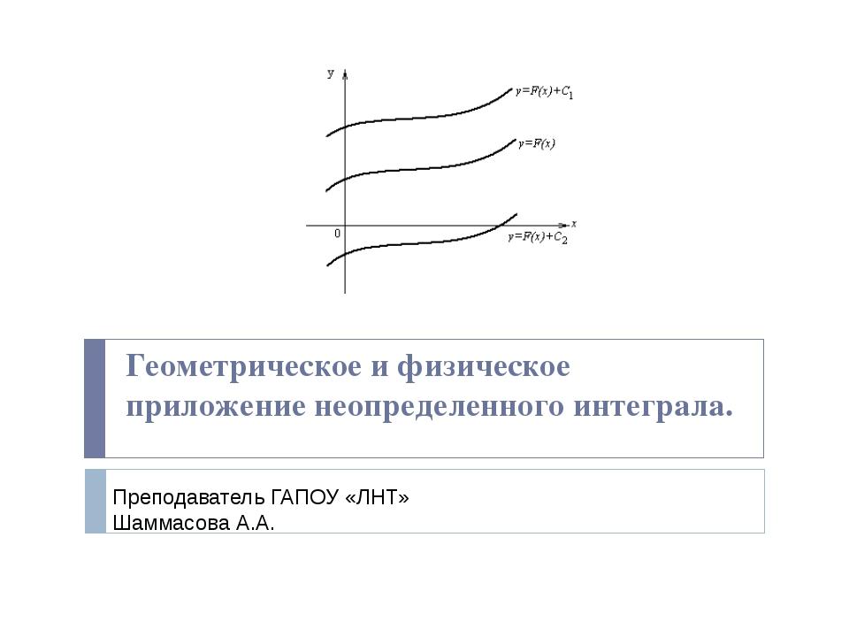 Геометрическое и физическое приложение неопределенного интеграла. Преподавате...