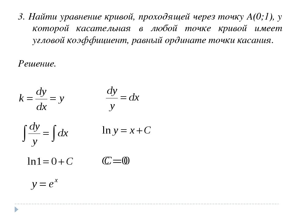 3. Найти уравнение кривой, проходящей через точку А(0;1), у которой касательн...