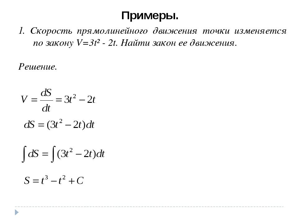 Примеры. 1. Скорость прямолинейного движения точки изменяется по закону V=3t²...