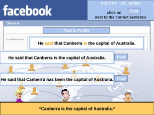 """Post to Profile """"Canberra is the capital of Australia."""" He said that Canberra"""
