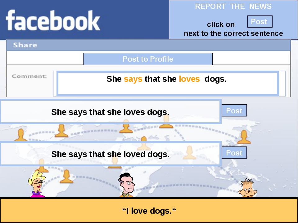 """Post to Profile """"I love dogs."""" She says that she loves dogs. She says that sh..."""