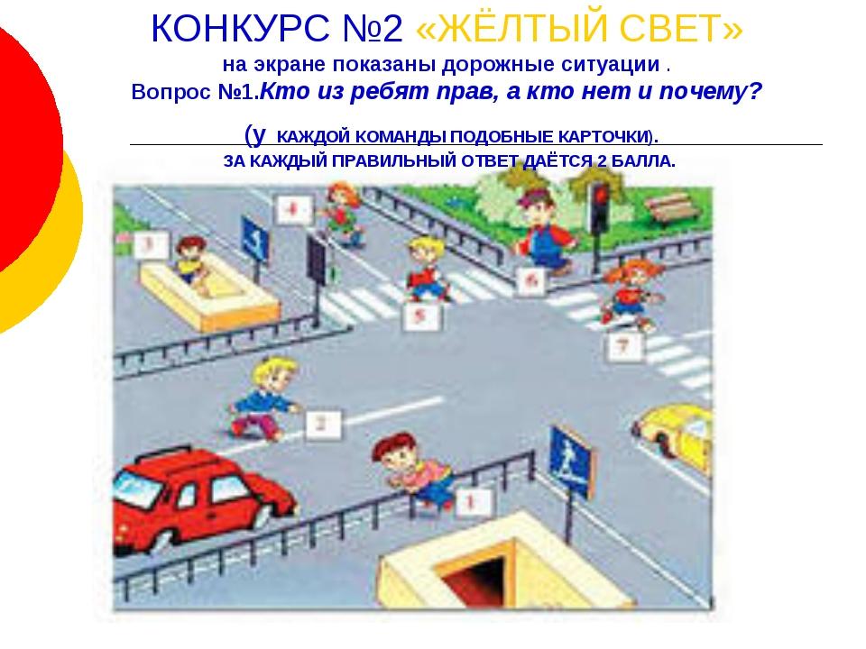КОНКУРС №2 «ЖЁЛТЫЙ СВЕТ» на экране показаны дорожные ситуации . Вопрос №1.Кто...