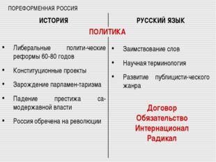 ПОРЕФОРМЕННАЯ РОССИЯ Либеральные полити-ческие реформы 60-80 годов Конституци