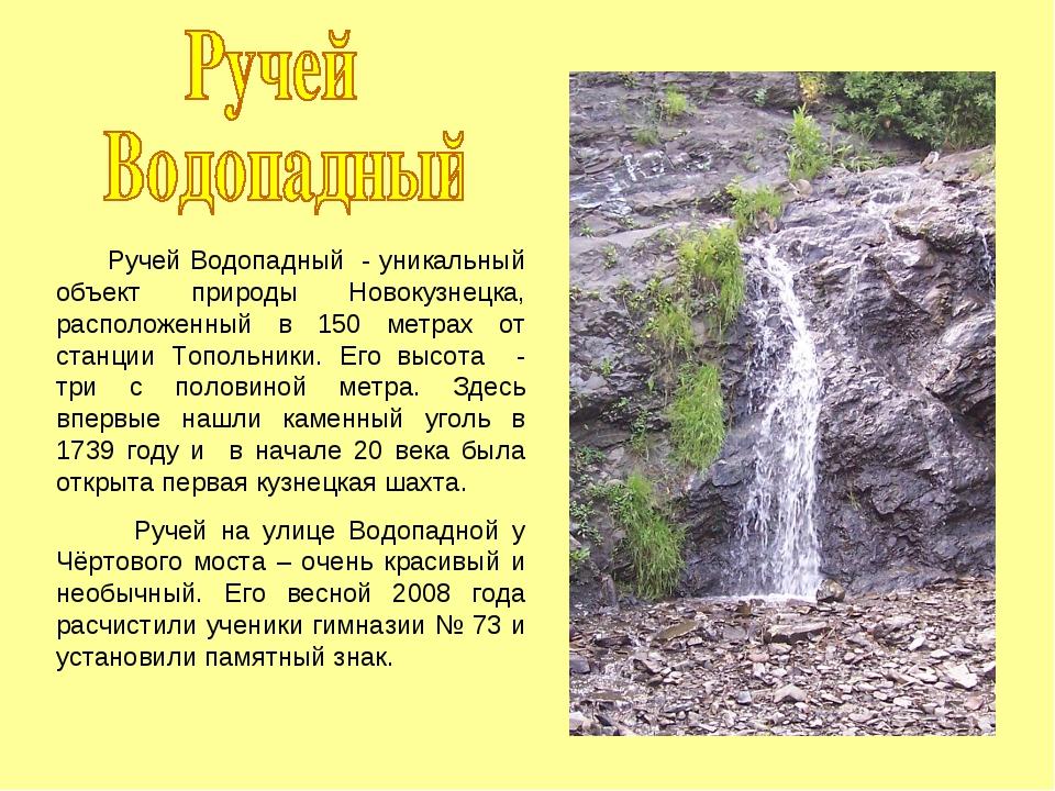 Ручей Водопадный - уникальный объект природы Новокузнецка, расположенный в 1...