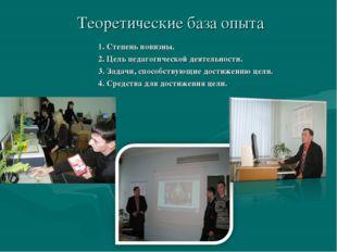 Теоретические база опыта 1. Степень новизны. 2. Цель педагогической деятельно