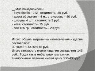 __Мне понадобилось: - брус 50х50 - 2 м., стоимость- 30 руб. - доска обрезная