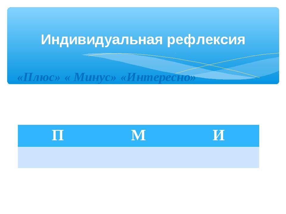 Индивидуальная рефлексия «Плюс» « Минус» «Интересно» ПМИ