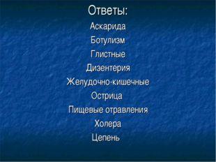Ответы: Аскарида Ботулизм Глистные Дизентерия Желудочно-кишечные Острица Пище