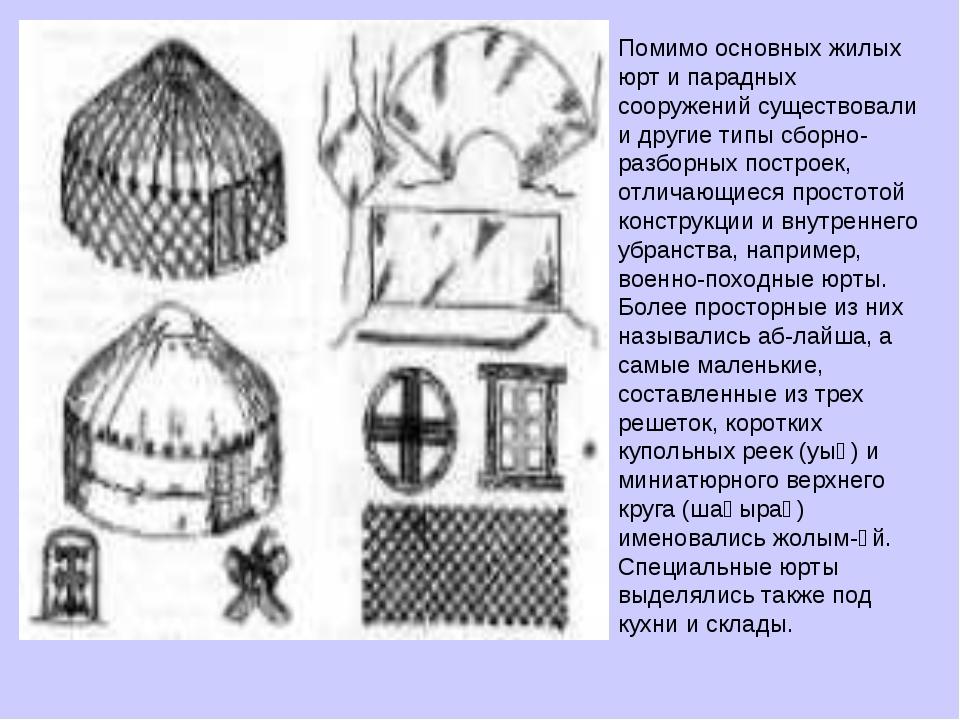 Помимо основных жилых юрт и парадных сооружений существовали и другие типы сб...