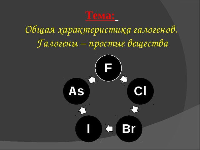 Тема: Общая характеристика галогенов. Галогены – простые вещества