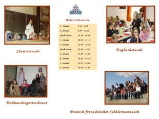 Unterrichtszeiten Englischstunde Chemiestunde Deutsch-französischer Schülerau