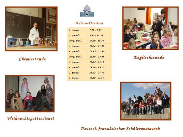 Unterrichtszeiten Englischstunde Chemiestunde Deutsch-französischer Schülerau...