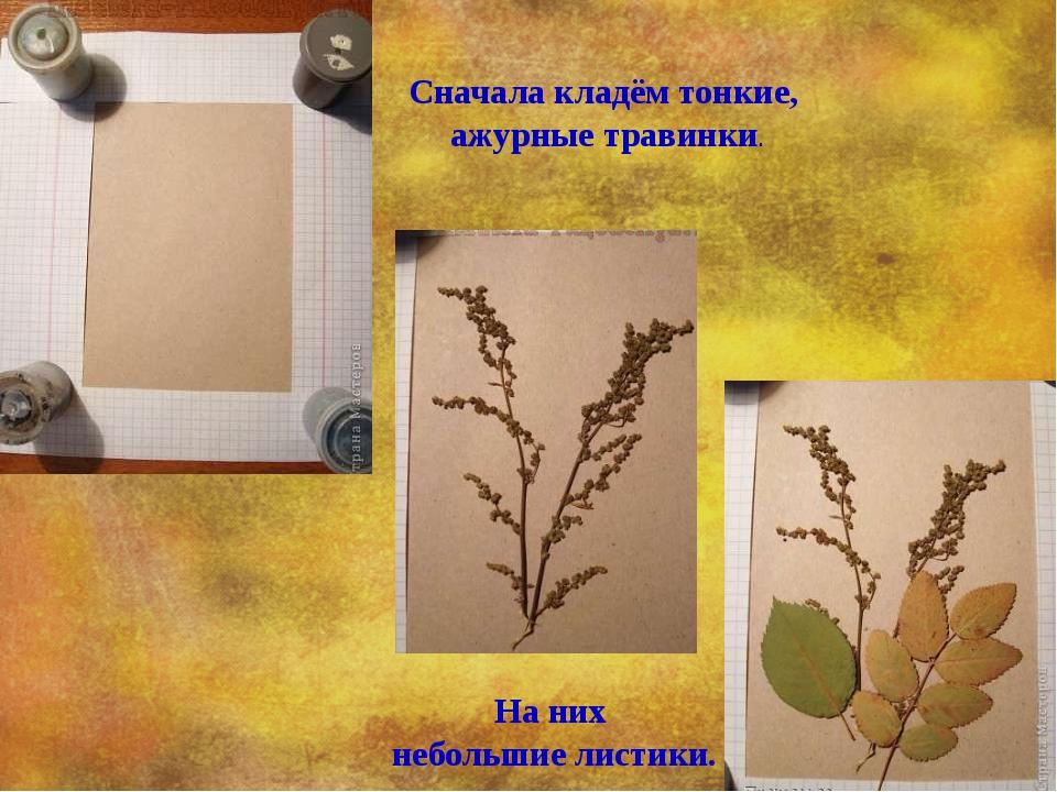 Сначала кладём тонкие, ажурные травинки. На них небольшие листики.