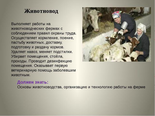 Животновод Выполняет работы на животноводческих фермах с соблюдением правил о...