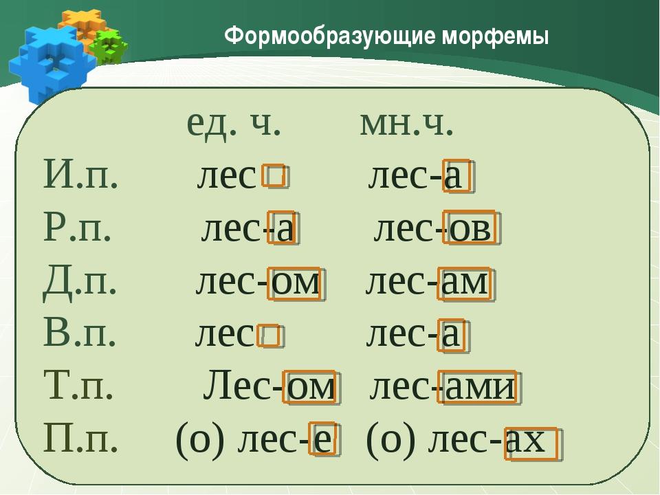 Формообразующие морфемы ед. ч. мн.ч. И.п. лес лес-а Р.п. лес-а лес-ов Д.п. ле...