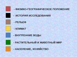 - ФИЗИКО-ГЕОГРАФИЧЕСКОЕ ПОЛОЖЕНИЕ - ИСТОРИЯ ИССЛЕДОВАНИЯ - РЕЛЬЕФ - КЛИМАТ -