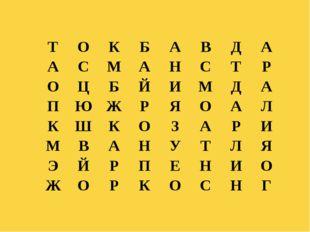 Куликова Н.А.- учитель географии МОУ Ильинская СОШ Т О К Б А В Д А А С М А Н