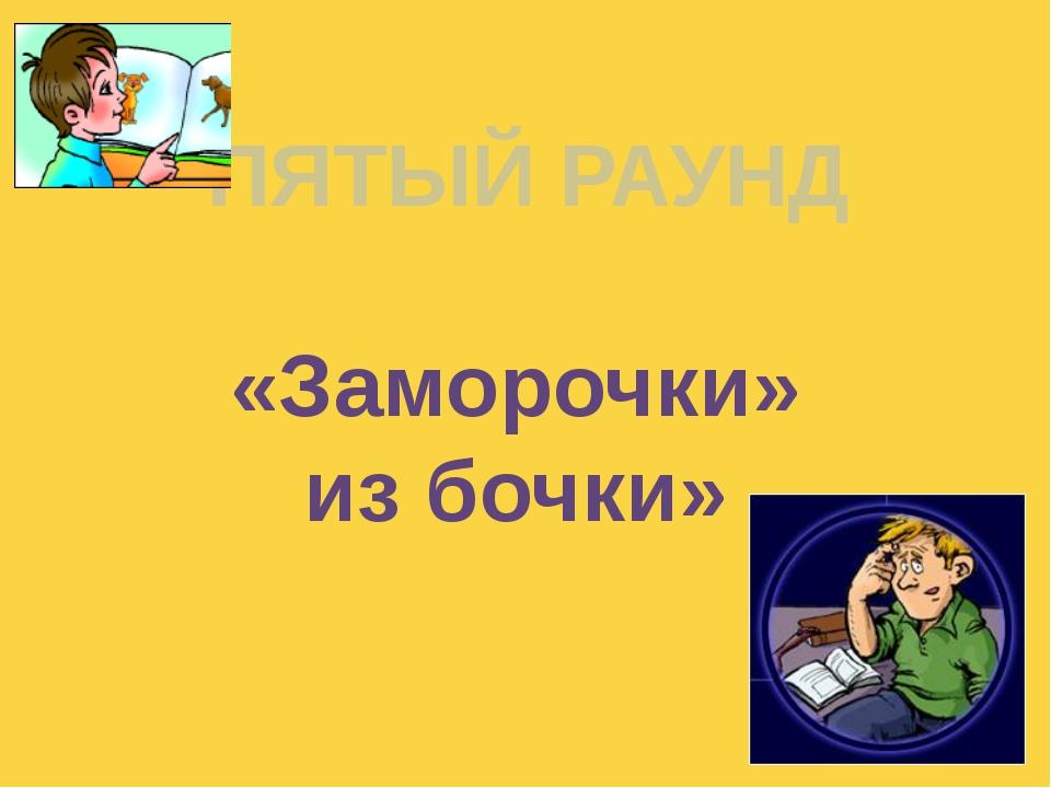 ПЯТЫЙ РАУНД «Заморочки» из бочки» Куликова Н.А.- учитель географии МОУ Ильинс...