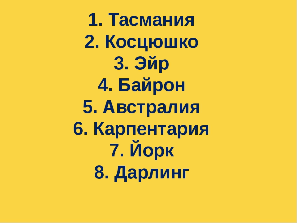 1. Тасмания 2. Косцюшко 3. Эйр 4. Байрон 5. Австралия 6. Карпентария 7. Йорк...