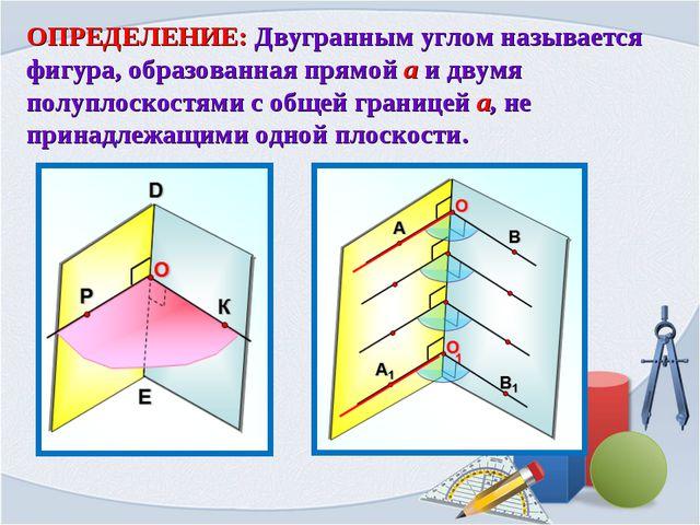 ОПРЕДЕЛЕНИЕ: Двугранным углом называется фигура, образованная прямой a и двум...