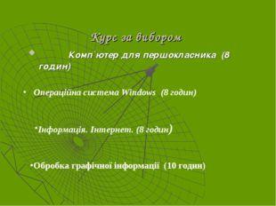 Курс за вибором Комп`ютер для першокласника (8 годин) Операційна система Wind