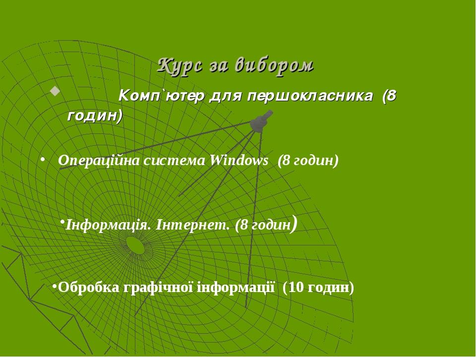 Курс за вибором Комп`ютер для першокласника (8 годин) Операційна система Wind...