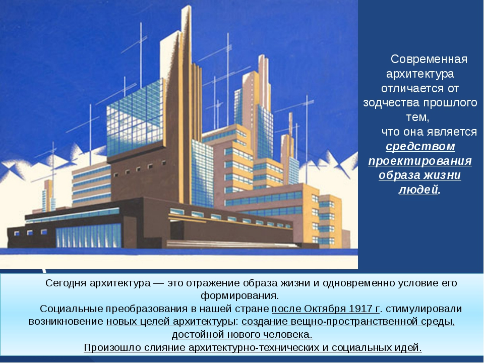 Современная архитектура отличается от зодчества прошлого тем, что она являетс...