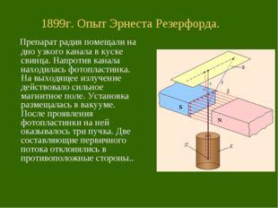 1899г. Опыт Эрнеста Резерфорда. Препарат радия помещали на дно узкого канала