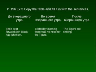 P. 196 Ex 3 Copy the table and fill it in with the sentences. До вчерашнего у