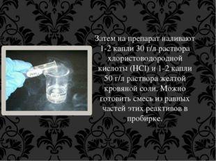 Затем на препарат наливают 1-2 капли 30 г/л раствора хлористоводородной кисло
