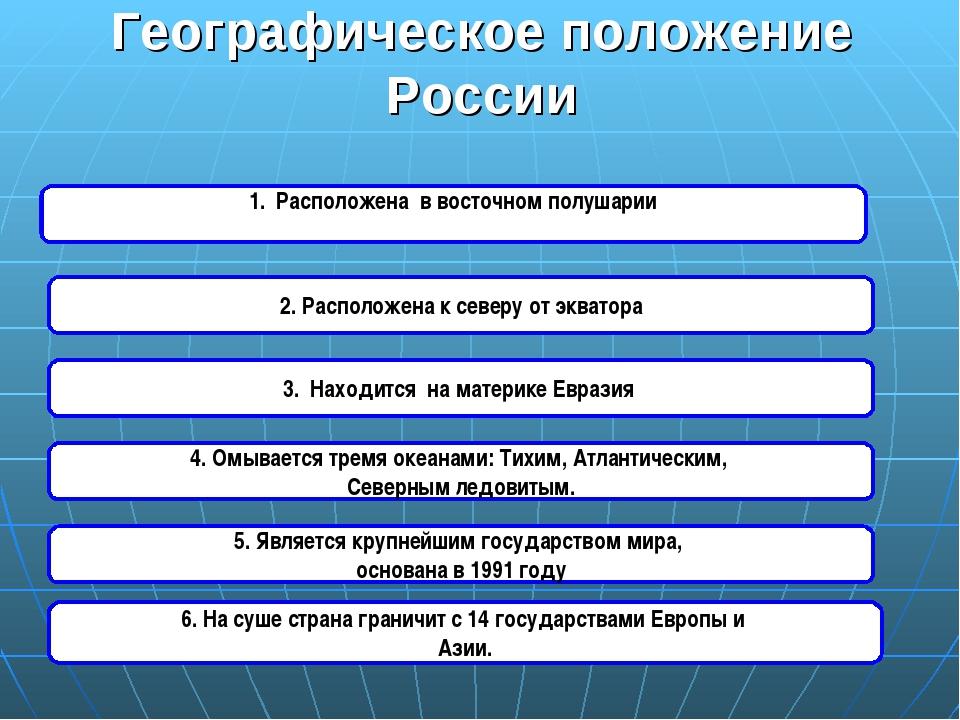 Географическое положение России 1. Расположена в восточном полушарии 3. Наход...