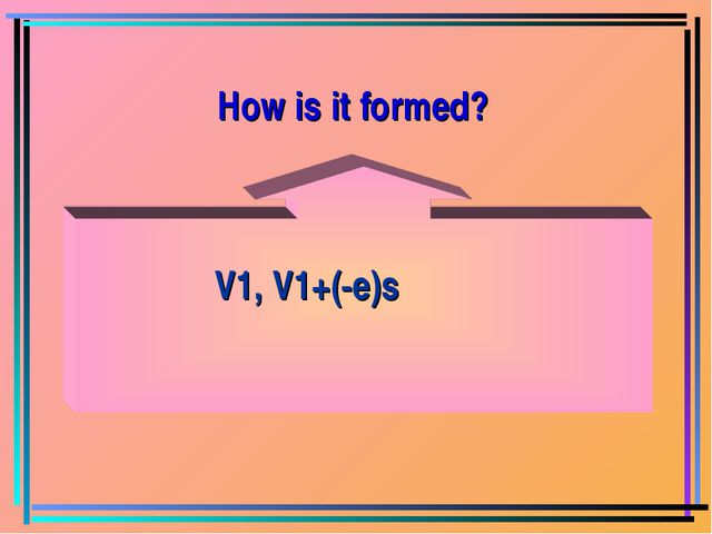 V1, V1+(-e)s How is it formed?