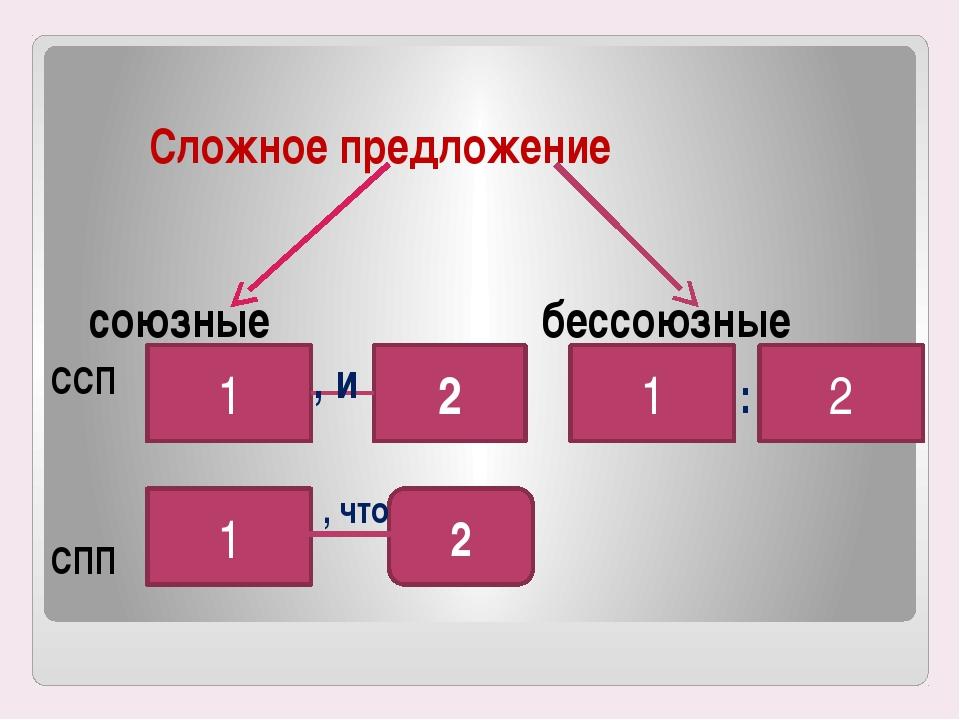 Сложное предложение союзные бессоюзные ССП СПП 1 2 , и 1 2 , что 1 2 :
