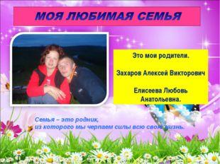 Это мои родители. Захаров Алексей Викторович Елисеева Любовь Анатольевна. Сем