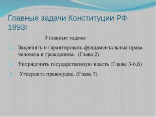 Главные задачи Конституции РФ 1993г 3 главные задачи: Закрепить и гарантирова
