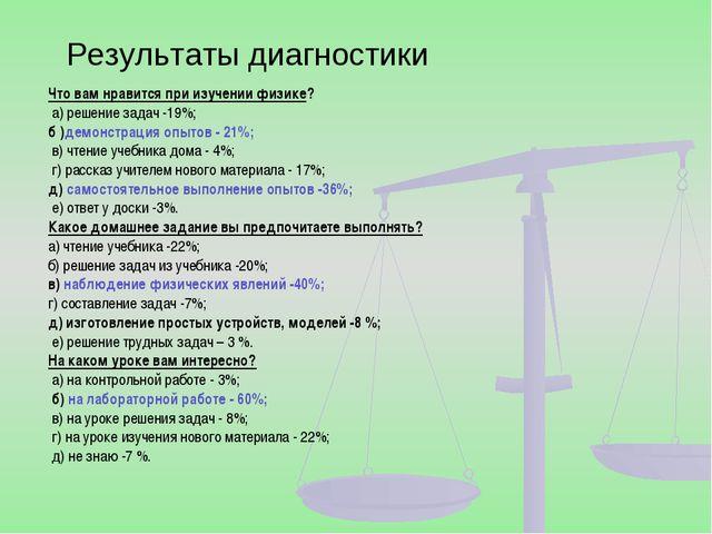 Результаты диагностики Что вам нравится при изучении физике? а) решение зада...