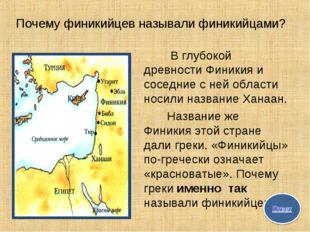 Почему финикийцев называли финикийцами? В глубокой древности Финикия и сосед