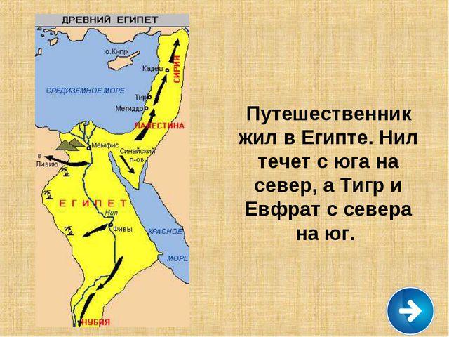 Путешественник жил в Египте. Нил течет с юга на север, а Тигр и Евфрат с севе...