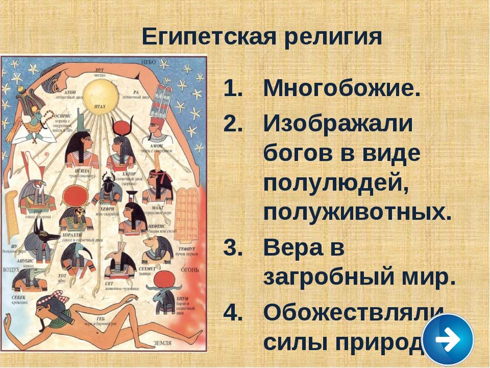 Египетская религия Многобожие. Изображали богов в виде полулюдей, полуживотны...