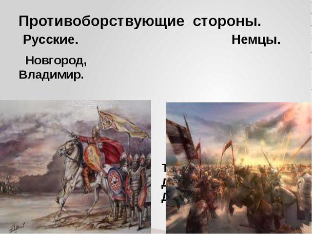 Новгород, Владимир. Тевтонский орден, Датские рыцари, Дерптское ополчение....