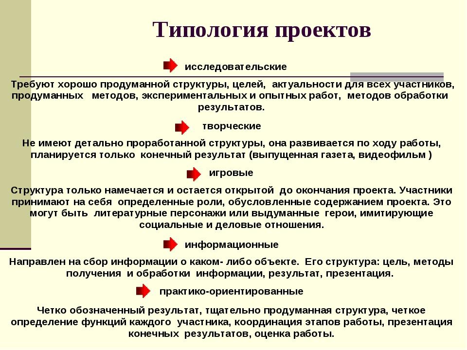 Типология проектов  исследовательские Требуют хорошо продуманной структу...