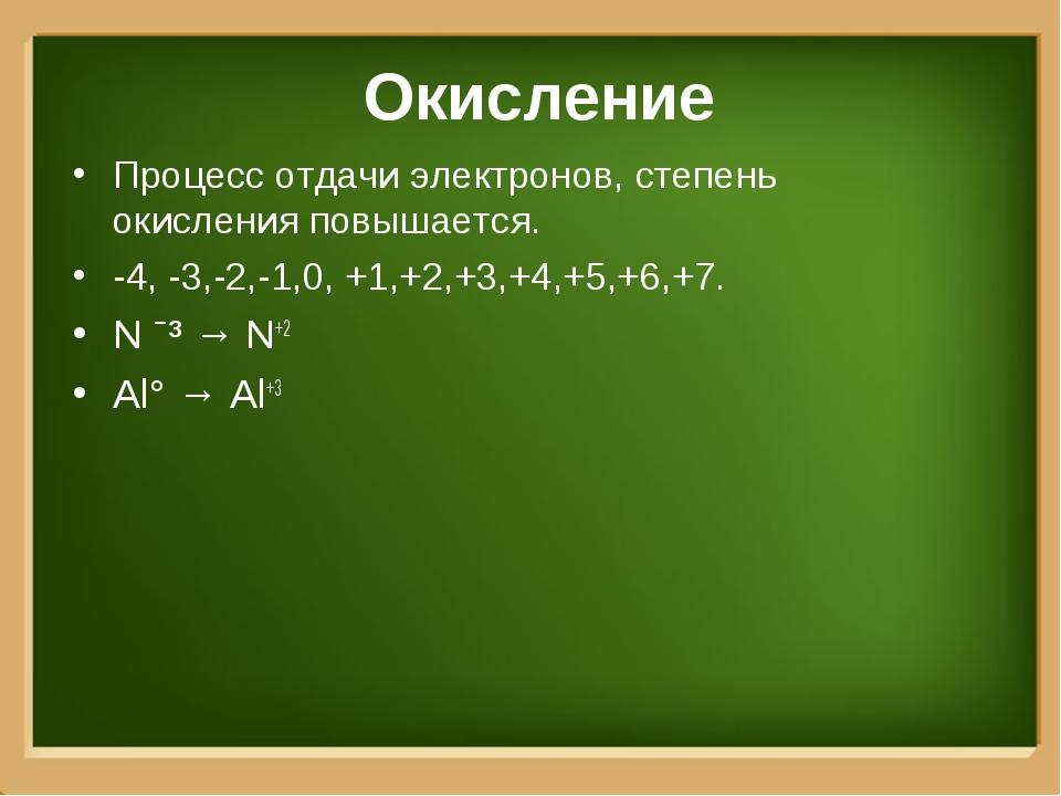 Окисление Процесс отдачи электронов, степень окисления повышается. -4, -3,-2,...