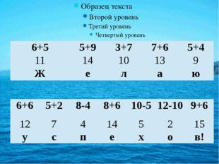 6+5 5+9 3+7 7+6 5+4 11 14 10 13 9 Ж е л а ю 6+6 5+2 8-4 8+6 10-5 12-10 9+6 1