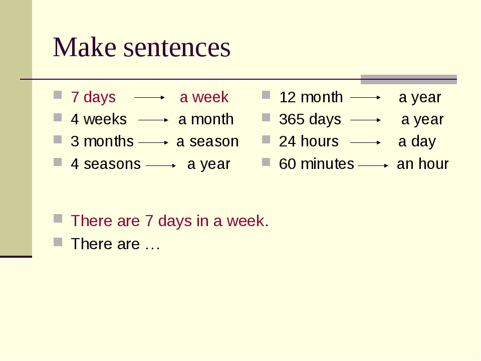 Make sentences There are 7 days in a week. There are … 7 days a week 4 weeks...