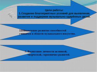 Цели работы: 1.Создание благоприятных условий для выявления, развития и подд