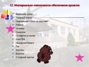11. Материально-техническое обеспечение проекта Древесина сосны Токарный стан