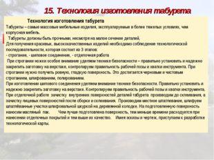 15. Технология изготовления табурета Технология изготовления табурета Табур