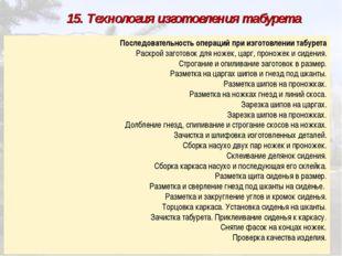 15. Технология изготовления табурета Последовательность операций при изгото