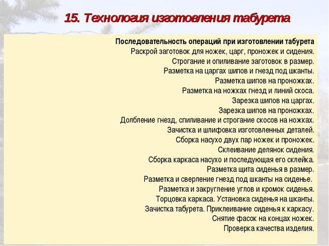 15. Технология изготовления табурета Последовательность операций при изгото...