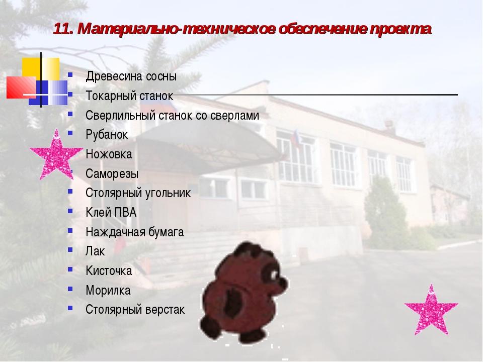 11. Материально-техническое обеспечение проекта Древесина сосны Токарный стан...